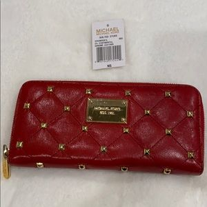 Michael Kors Red Studded Continental Wallet